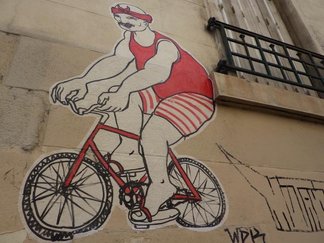 Parijs muurtekening fiets